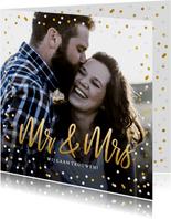 Trouwkaart Mr & Mrs goud - met eigen foto en confetti kader