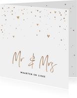 Trouwkaart Mr & Mrs met goudlook tekst, confetti en hartjes