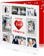 Trouwkaart of bedankkaart fotocollage hart rood
