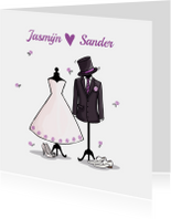 Trouwkaart paspop bruidspaar