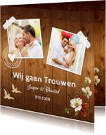 Trouwkaart romantisch bloemen hout