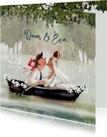 Trouwkaart Romantisch in het bootje