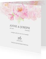 Trouwkaart rozenrand in pastel op wit