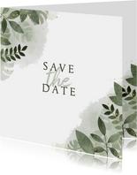 Trouwkaart save the date, botanisch met waterverf.