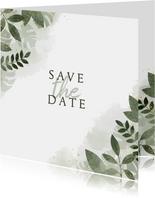 Trouwkaart save the date botanisch met waterverf