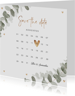 Trouwkaart save the date eucalyptus goud hartjes