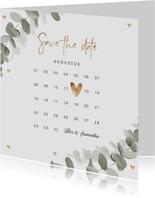Trouwkaart save the date eucalyptus goud hartjes