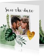 Trouwkaart save the date in bohemian stijl met gouden hartje