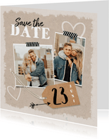 Trouwkaart save the date kraft label vintage