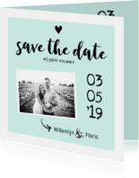 Trouwkaart save the date met foto zwart/wit