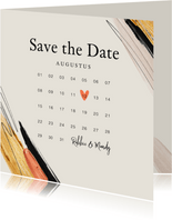 Trouwkaart save the date verf trend kalender hartje goud