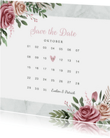 Trouwkaart save the date vintage bloemen kalender