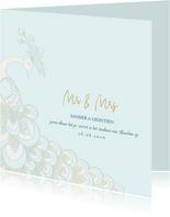 Trouwkaart sierlijke pauw wit/goud op blauw