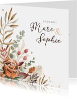 Trouwkaart stijlvol droogbloemen vintage goud hartjes