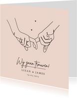 Trouwkaart stijlvol lijntekening handen modern pastel