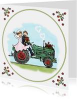 Trouwkaart tractor groen rood