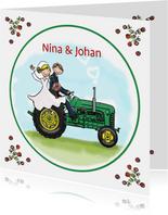 Trouwkaart tractor groen met geel