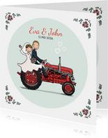 Trouwkaart tractor rood met bruidspaar