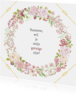 Trouwkaart-uitnodiging getuige rozen