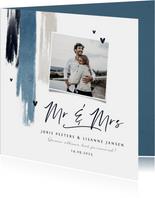 Trouwkaart uitnodiging stijlvol blauw verf hartjes foto
