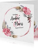 Trouwkaart uitnodiging vintage bohemian  waterverf bloemen