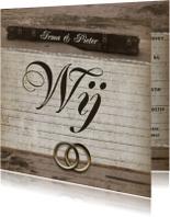 Trouwkaart vintage ringen en foto