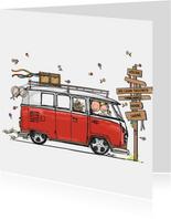 Trouwkaart VW bus rood - AV
