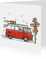 Trouwkaart VW bus rood - AV