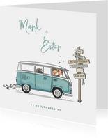 Trouwkaart VW bus spijltje T1