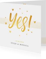 Trouwkaart YES stijlvol  goud met hartjes