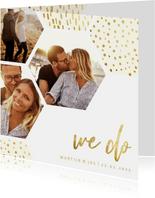 Trouwkaart zeshoek fotocollage met gouden confetti