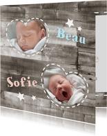 Tweeling geboortekaartje Hout 1L