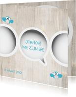 Tweeling geboortekaartje jongens van Mo Cards met uiltjes