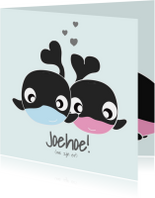 Geboortekaartjes - Tweelingkaart jongen meisje met schattige dieren
