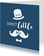 Typografisch met snor, hoed en strikje