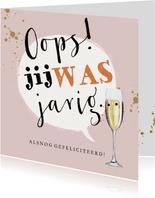 Typografische kaart met spreekwolk en champagneglas