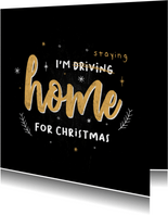 Typografische kerstkaart i'm staying home for christmas
