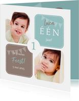 Uitnodiging 1 jaar jongen grafisch met foto's