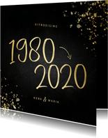Uitnodiging 1980/2020 jubileum met spetters