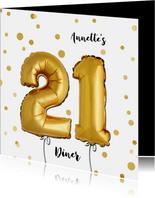 Uitnodiging 21 diner ballonnen goud