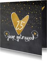 Uitnodiging 25 getrouwd krijtbord hart