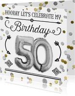 Uitnodiging 50 jaar ballon zilver en confetti