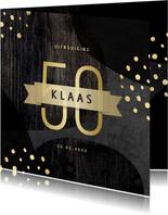 Uitnodiging 50 jaar goud met krijtbord en hout abstract