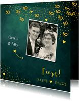 Uitnodiging 50 jaar gouden confetti