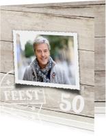 uitnodiging 50 jaar - hout print