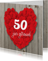Uitnodiging 50 jaar huwelijk rozen