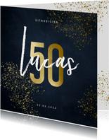 Uitnodiging 50 jaar stijlvol goudlook met spetters