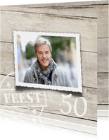 uitnodiging 50 jaar verjaardag hout print