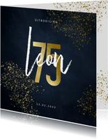 Uitnodiging 75 in goudlook met goudspetters