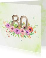 Uitnodiging 80 jaar met klaprozen
